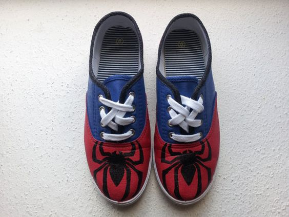 SpiderMan Shoes WOMENS by ShoesbyLADY on Etsy, $25.00: Diy Shoes, Geek Shoes, Spiderman Shoes, Canvas Shoes, Shoes Women, Spider Man, Custom Painted Shoes, Amazing Spiderman, Spiderman Clothing