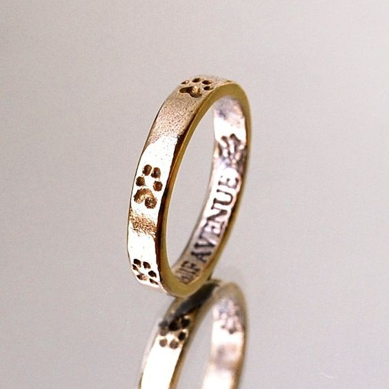 Bronze Stacking Paw Print Ring- Size 6 1/4 Ring- Dog Lover Jewelry- Animal Ring- Cat Paw Print Ring- Thin Ring- Skinny Ring $25: