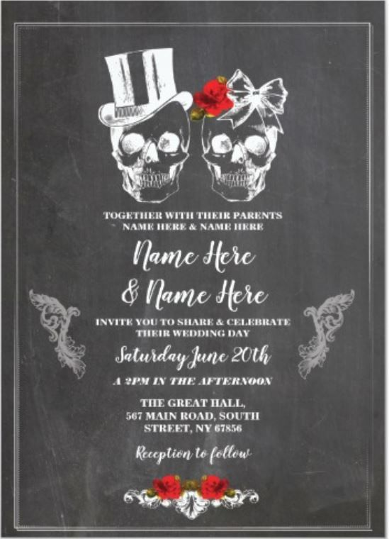 Skull Wedding Halloween Roses Gothic Floral Invite Zazzle Com Halloween Wedding Invitations Halloween Wedding Engagement Party Decorations Diy