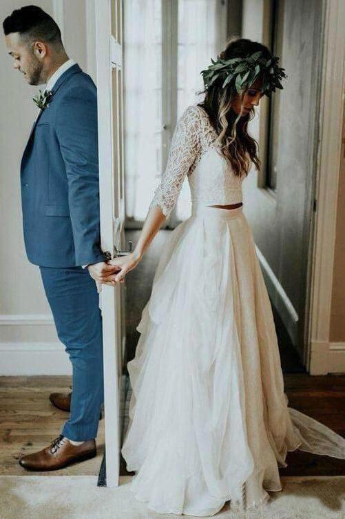 3 4 Sleeve Lace Ivory Chiffon Wedding Dresses Cheap Two Piece Beach Bridal Dresses Boho In 2020 Wedding Dress Long Sleeve Two Piece Wedding Dress Wedding Dresses Lace,Casual Wedding Dresses For Older Women
