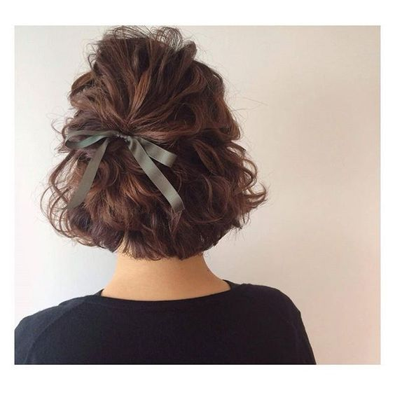 16 Pretty Ribbon Hairstyles From Pinterest Short Hair Updo Thick Hair Styles Short Hair Styles