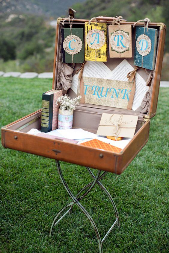 vintage suitcase and books used for wedding cards #vintagewedding #diywedding #handmade http://www.weddingchicks.com/2013/10/29/bookworm-wedding/