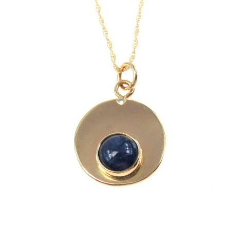 Estate Modernist Lapis Lazuli Pendant Necklace in 14k Yellow Gold, great alone or layered. #vbantiquejewelry