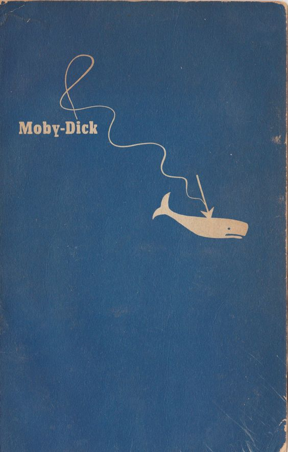 Vintage book cover by the title of Moby Dick.:
