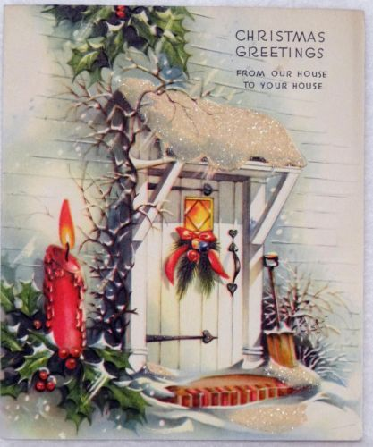 #1233 50s Festive Front Door-Vintage Christmas Greeting Card