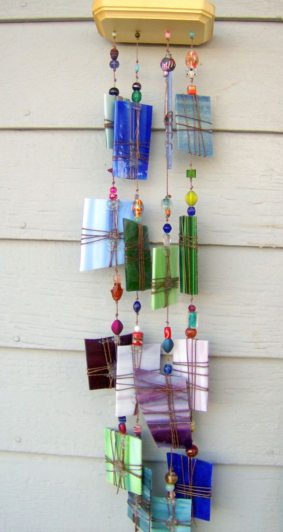 Windchime suncatcher blue green purple large recycled for Easy to make wind chimes