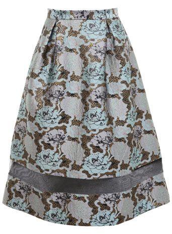 Jaquard Organza Midi Skirt
