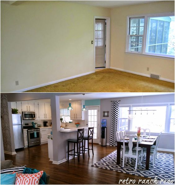 Before And After Of This Beautiful Open Concept Kitchen: Retro Ranch Reno: Our Rancher: Before & After
