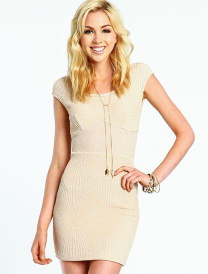 Gold Glitter Knit Dress