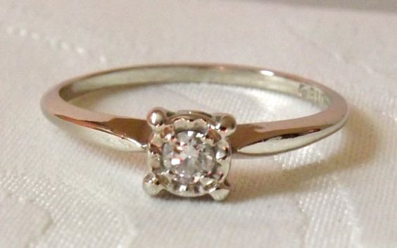 Vintage 14K White Gold Diamond Solitaire by EclairJewelry on Etsy, $178.00