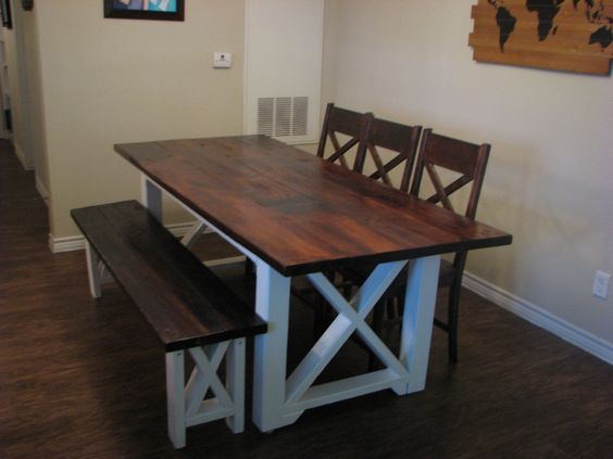 Custom 7ft. Farmhouse Table With Bench And Chairs