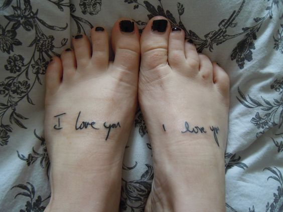 Her parent's handwriting. I'm a recovering heroin addict coming up on a year clean, and this my Dad & Mom's handwriting that I got from letters to me in rehab. My dad is on my left foot for always inspiring me & my mom is on my right for always teaching me to do the next right thing. These are my favorite out of my six, and I love them. Done By Jon at Pinz & Needlez Tattoo in Edgewood, MD.