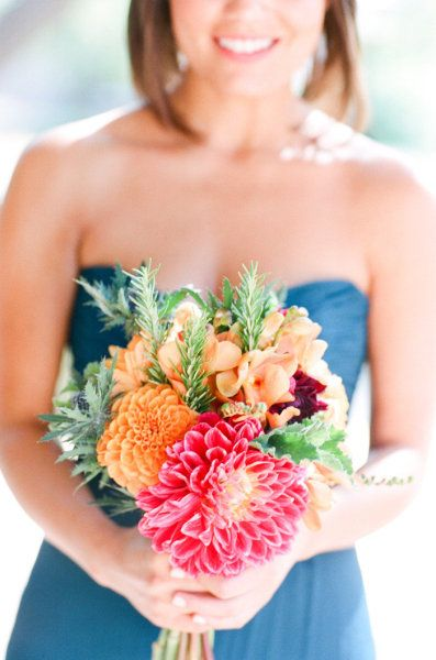 LOVE THESE COLORS! Gorgeous in every which way. Photography by picotteweddings.com / Bouquet by efflorescefloral.com