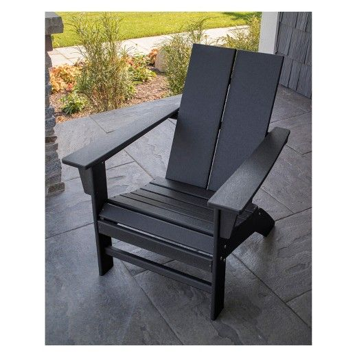 Polywood St Croix Contemporary Adirondack Black Contemporary