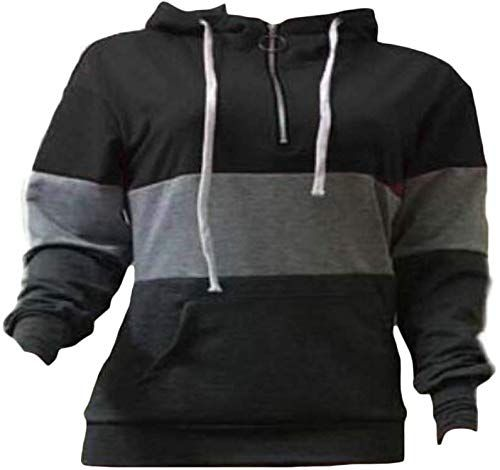 Wofupowga Mens Casual Hoodie Pullover Top Contrast Color Hoodies Sweatshirts