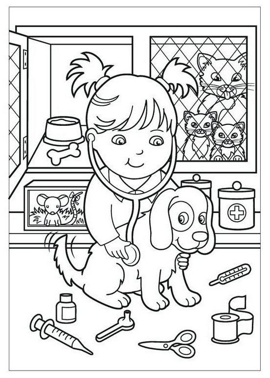 Veterinarian Girl Cartoon Cartoon Coloring Pages