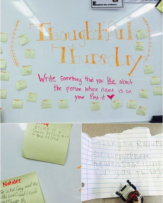 Morning Meeting Question of the Day Thoughtful Thursday: the kids wrote something that they like about a classmate on a Post-it, then I gave them each their Post-it to keep.