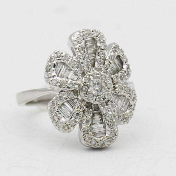 Antique Diamond Flower Ring 14k Gold Diamond by BullionDiamond