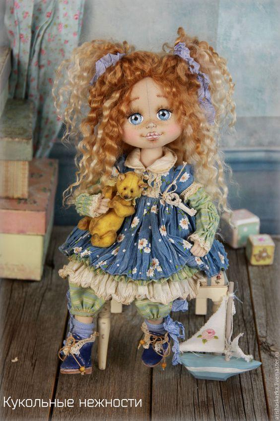 Купить Алёнка . Кукла авторская текстильная artdoll - шебби, шебби шик, кукла ручной работы:
