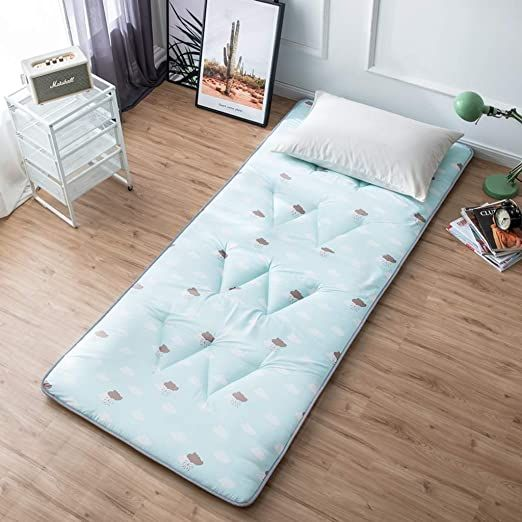 Huoleo Printed Mattress Futon Topper Soft Thick Durable Foldable For Student Dorm Room A 180x200cm In 2020 Thick Mattress Topper Single Mattress Student Dorm