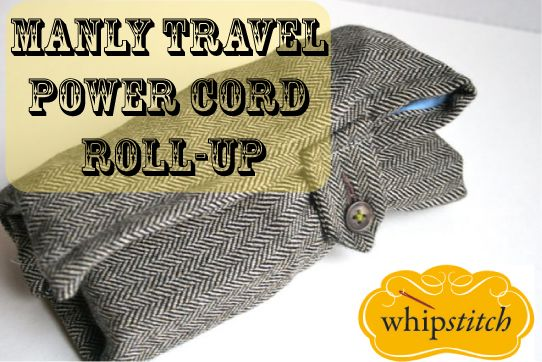 Roll-up for men: for their power cords when they travel. Tutorial.