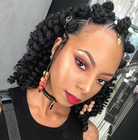 Braided Hairstyles for Women 2021, Braided Bantu Knots