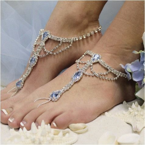 Something blue barefoot sandals, the perfect accessory for your beach wedding. Elegant silver rhinestone barefoot sandals for your dream beach wedding. Tradition inspired these stunning silver blue rh: