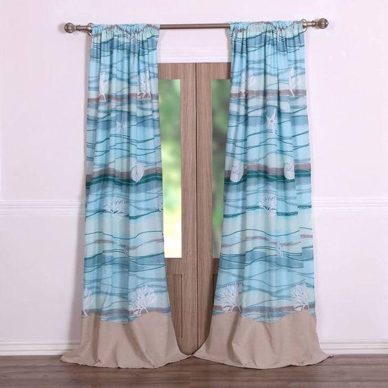 Curtains Ideas curtains birds theme : Coastal Beach Nautical Blue Cotton Quilt Set | Window treatments ...