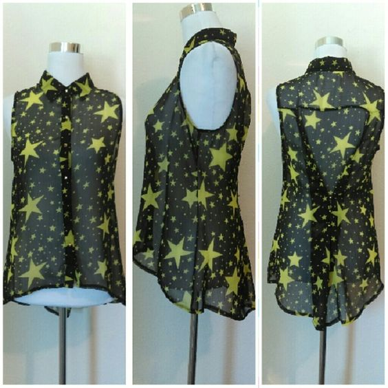 Sheer Black Star Sleeveless Buttonup Fun flowy star top with gold buttons in front. Also has gold buttons in back to add some shape. Bright yellow stars. Size Medium. Like new! Sans Souci Tops Button Down Shirts