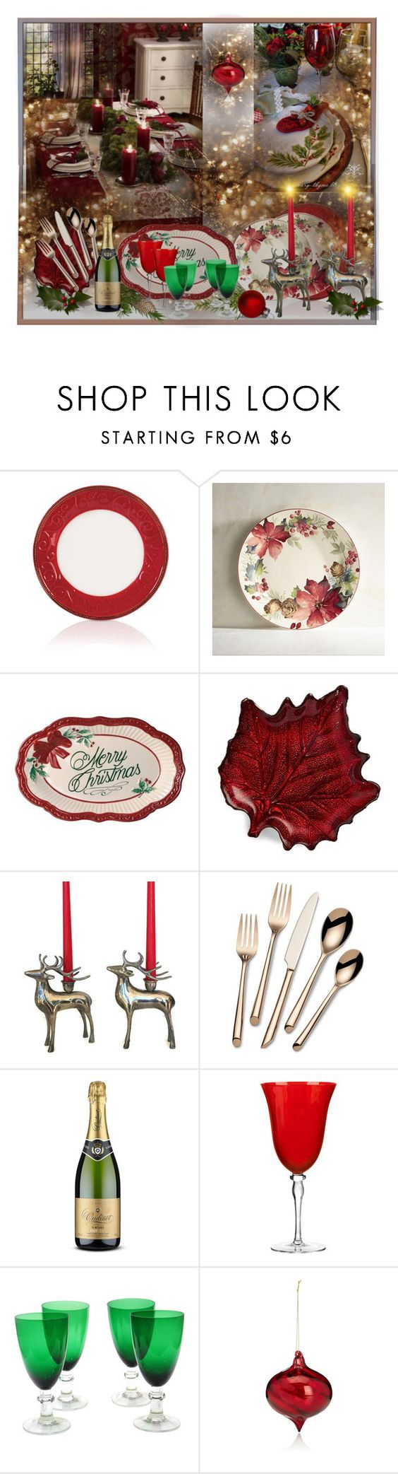 """""""Christmas table - contest"""" by barbara-gennari ❤ liked on Polyvore featuring interior, interiors, interior design, home, home decor, interior decorating, Fitz & Floyd, Pier 1 Imports, Two's Company and Towle"""
