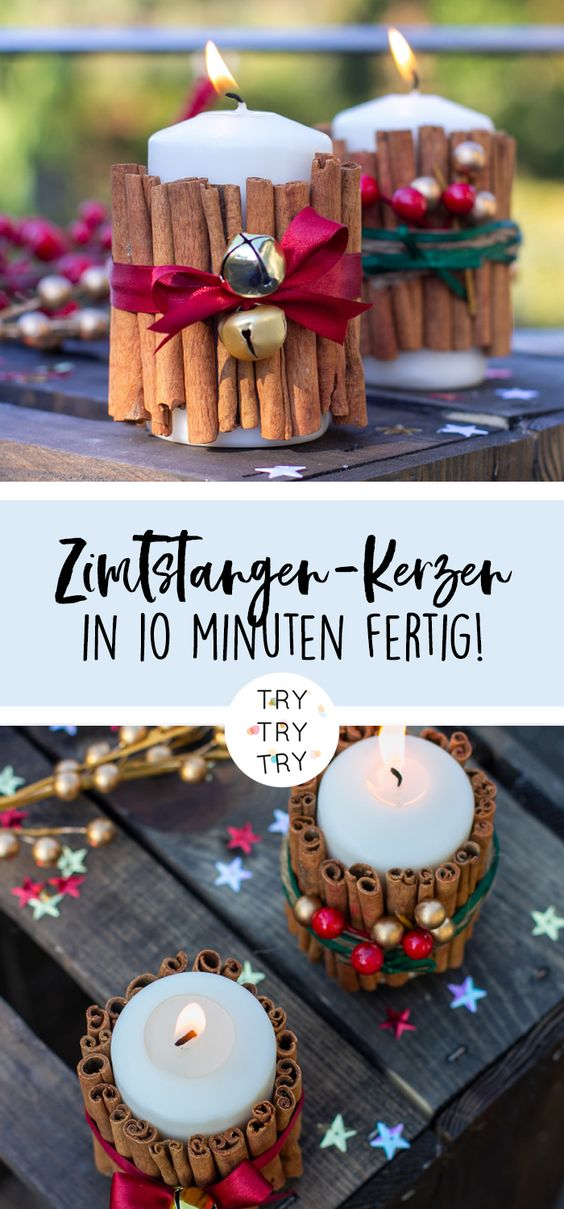 Weihnachtliche Zimtstangen-Kerzen {Create yourself a merry little christmas}