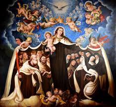 María, Decoro y Hermosura del Monte Carmelo, con los Santos de la Orden.