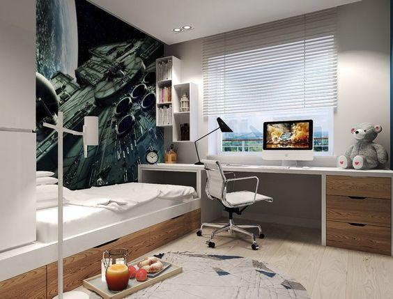 Fotowand lässt das Kinderzimmer optisch geräumiger wirken - jugendzimmer schwarz wei