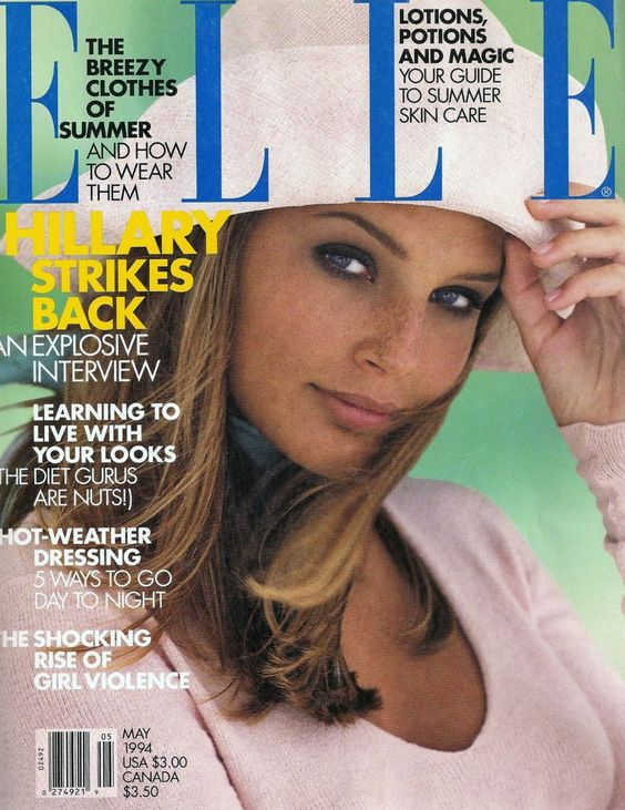 BRIDGET HALL | ELLE MAY,1994 COVER PHOTOGRAPHED BY GILLES BENSIMON