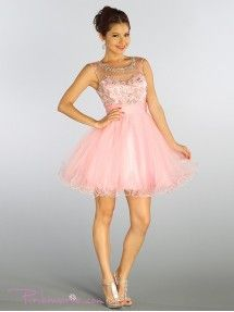Light Pink Gorgeous Lace Appliques Short Mesh Dress - Prom Dresses ...