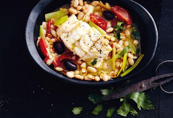 Gedünsteter Dorsch mit mediterranem Gemüse