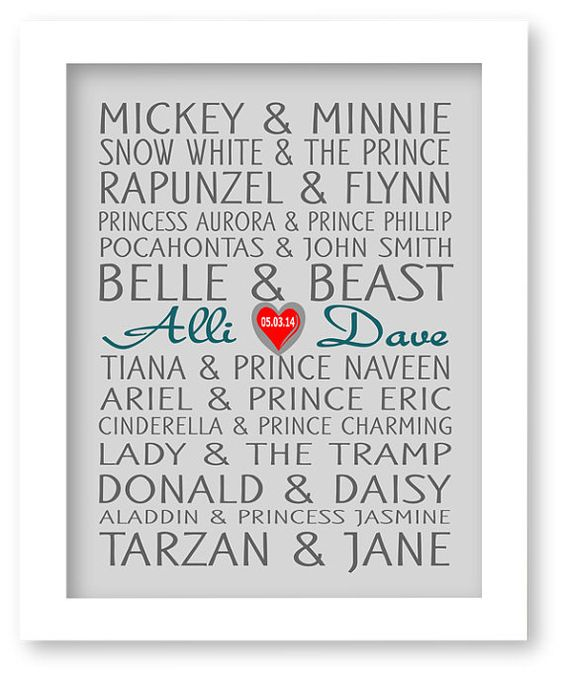 Disney Famous Couples Print, Couples Art, Personalized Couples Gift, Custom Wedding Gift, Bridle Shower Gift