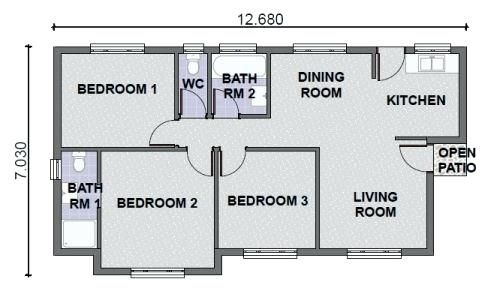 Image Result For One Story 3 Bedroom Houses Three Bedroom House Three Bedroom House Plan House Plans One Story