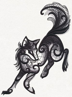 Intricate lacy textures combine with dimensionally eerie swirls to create this otherworldly wolf.