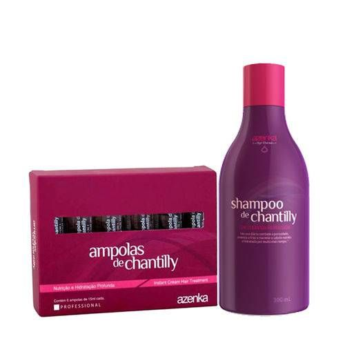 Kit Chantilly Shampoo 300ml 6 Ampolas 15ml Cada Azenka Em 2020
