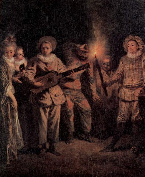 Die italienische Komödie (L'amour au théâtre italien) detail, Jean-Antoine Watteau, about 1718. Berlin Gemäldegalerie
