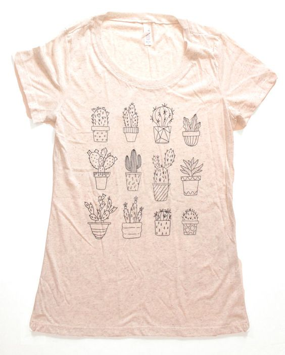 Hand screened made to order Planted Cactus t-shirt printed with black ink on a heather gray shirt, white ink on a dark heather gray shirt, white ink on