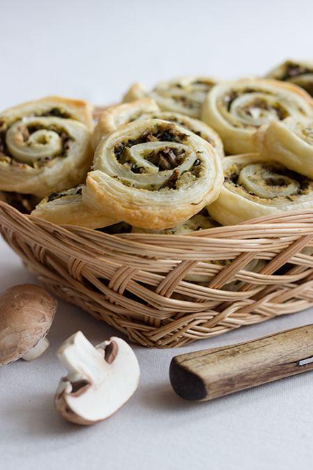 Pilz-Zucchini-Blätterteigschnecken