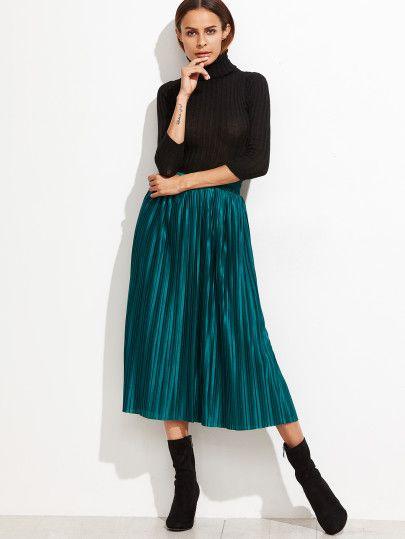 Павлин зеленый эластичный пояс плиссированные юбки