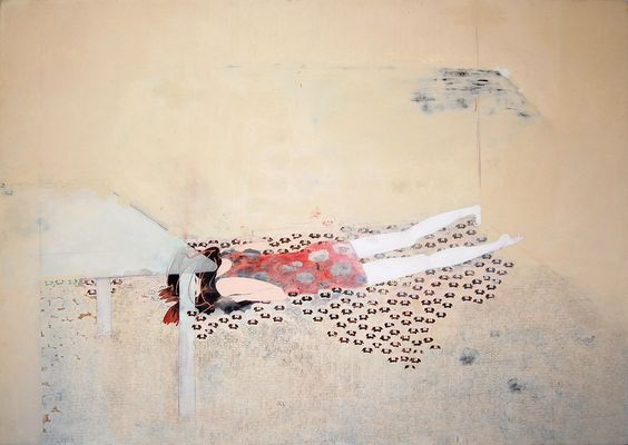 Tomoko Kashiki Flower 2006 acrylic, paper, cotton, wooden panel 160x227cm