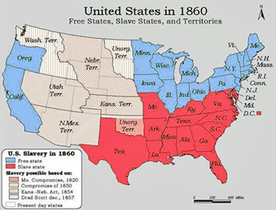 Free And Slave States Map 1860 Adventures In Public History Pinterest Social Studies And Montessori