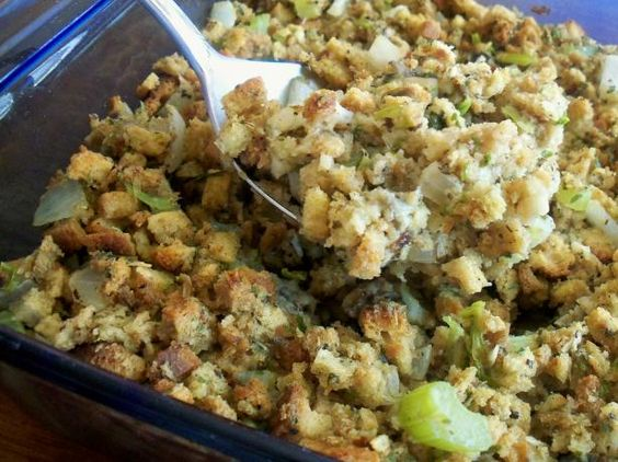 Mom s Oyster Dressing/Stuffing from Food.com: #Ultimatethanksgiving.  Turkey isn't Turkey without Oyster stuffing here on the shore.  								The best thing about a stuffed turkey is the oyster dressing.  My grandma (Gigi) and mom would argue every year as to whether it was better made with cornbread cubes or regular bread.  I prefer regular bread, but you decide for yourself.