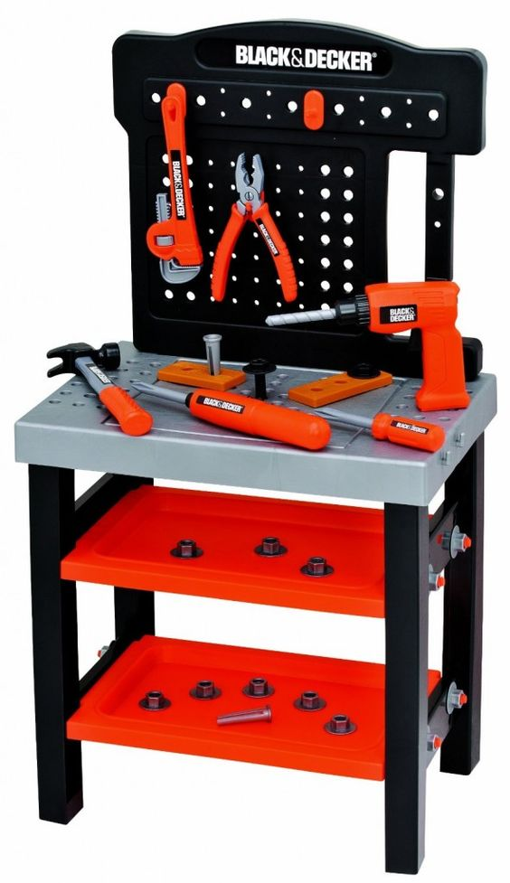 """Chicks Picks:  Toys For BOYS JAMIE:  Black & Decker Tool Bench """"My boys LOVE this tool bench.  They have spent hours and hours pretending like they are the next DIY stars.  Love it."""""""