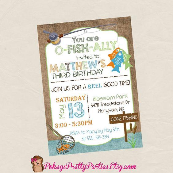 Invitación fiesta de cumpleaños de pesca por PokeysPrettyParties