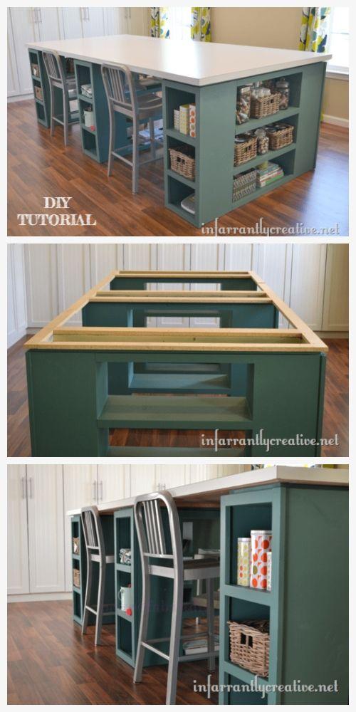 Large Craft Table Diy Tutorial Diy Magazine Craft Table Diy Craft Room Tables Sewing Room Design